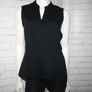 Black Apt 9 Peplum button top blouse shirt